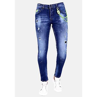Pants With Holes And Paint Splashes - 1005 - Blue