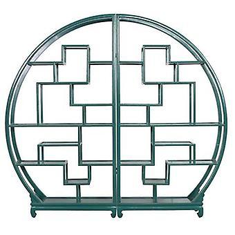 Fin AsiatiskLiving Kinesisk Bokhylle Runde Åpent Skap Teal W176xH192cm