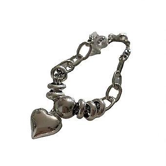 Silver plating Retro Love Heart Round Ball Chain Bracelet Female Fashion All-match Trend Punk