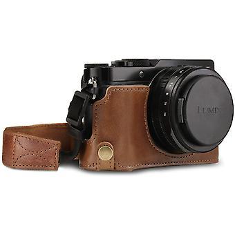 Ever Ready Echtleder Kameratasche mit Trageriemen kompatibel mit Panasonic Lumix DC-LX100 II