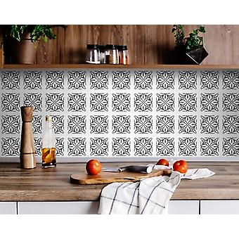 """5"""" X 5"""" White and Black Cross Peel and Stick Removable Tiles"""