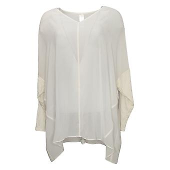 Wynne Layers Women's Top Cowl Neck Mixed Media Poncho Blouse White 633852