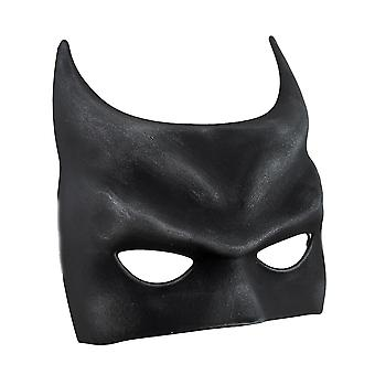 Bat Fantasy Molded Black Half Costume Mask w/Silken Ribbon Ties