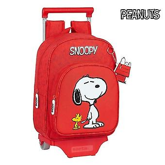 School Rucksack with Wheels 705 Snoopy Red