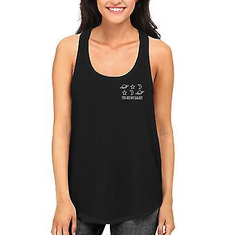 Min Galaxy Kvinnors svart linne söt Pocket Print brottarrygg Tanks