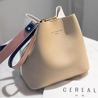 Khaki Ladies Bag Bucket Bag PU Leather Shoulder Bag Ladies Messenger Bag Handbag (21cm*13cm*21cm)
