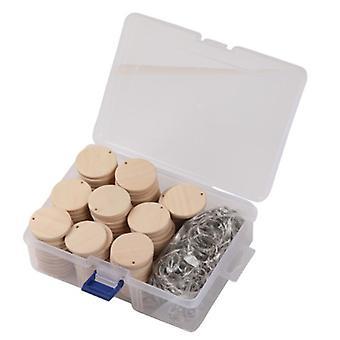 100 יח' דיסקים עגולים מעץ עם תגי עץ מחזיק מפתחות עם תזכורת חור שיא עץ שבבי עבודות יד