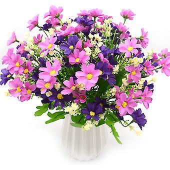 4 זר פרחים מלאכותי 28 ראשים, פרח חינני מזויף חמוד (אדום)