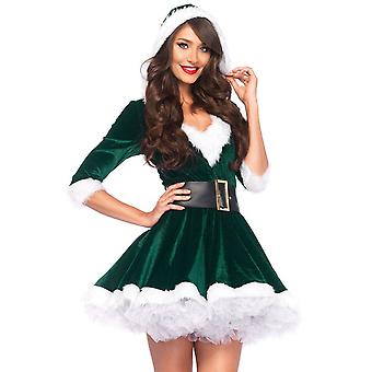 Vestido com capuz de veludo com cinto para o Natal