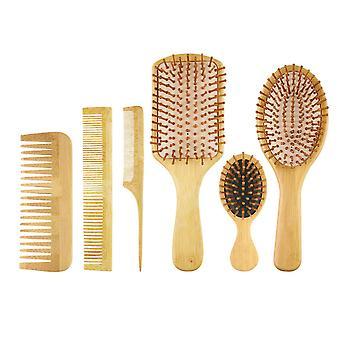 Bambusový kartáč na vlasy Hairbrush Set Tail Comb Tooth Comb Double Head Comb Kožený masážní polštář Comb 6ks