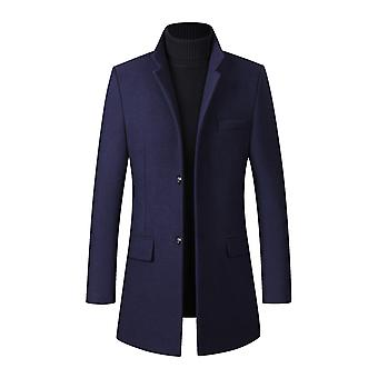 Yunyun Men's Slim Fit Thick Solid Color Stand-up Collar Mid-length Overcoat