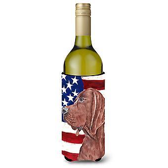 Redbone Coonhound with American Flag USA Wine Bottle Beverage Insulator Hugger