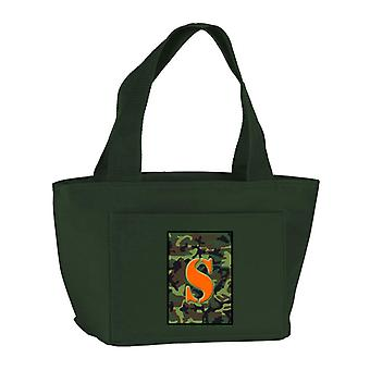 Letter S Monogram - Camo Green Zippered Insulated School Washable and Stylish Lu