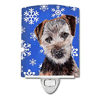 Norfolk Terrier Puppy Winter Snowflakes Ceramic Night Light