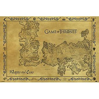 Game of Thrones Antique Map of Westeros & Essos Poster Print (36 x 24)