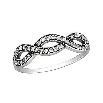 متشابكة-925 الفضة الإسترليني خواتم مرصع بالجواهر-W30150X
