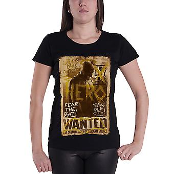 Official Womens Batman T Shirt Distressed Wanted Poster New Black Skinny Fit
