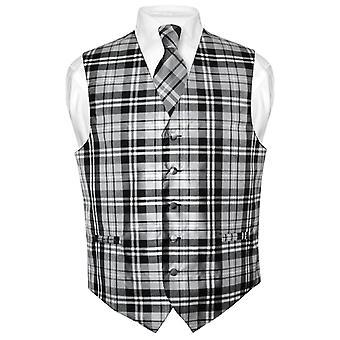 Herren Karo Design Kleid Weste & Krawatte Hals Krawatte Set