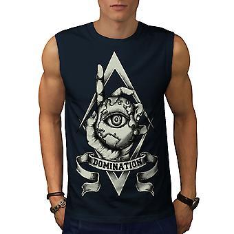 Domination Eye Horror Men NavySleeveless T-shirt | Wellcoda