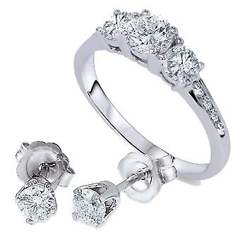 1 1 / 2ct 3 Stone Diamond Ring & overeenkomende hengsten 14K witgoud