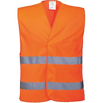 Portwest Mens Hi Visibility Two Band Lightweight Work Waistcoat Vest