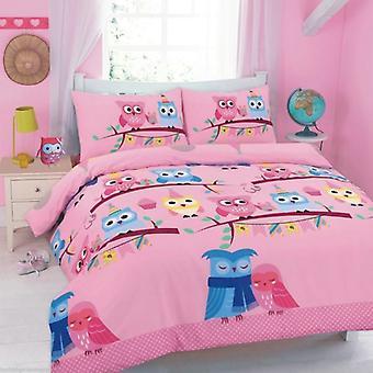 Gufo sveglio culla letto dimensioni trapunta copripiumino stampato Bedding Set con federa