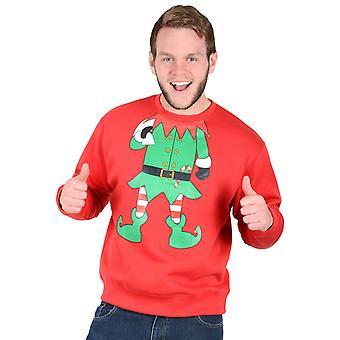 Adults Unisex Novelty Red Christmas Xmas Sweatshirt Jumper - Green Elf Suit