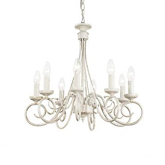 Ideal Lux Brandy 8 Bulb Classic Ivory Bedroom Chandelier