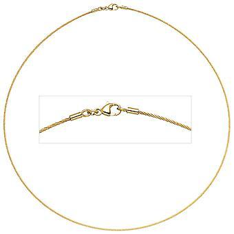 Choker halskjede gull 750 gull gul gull 1.1 mm 45 cm hummer lås