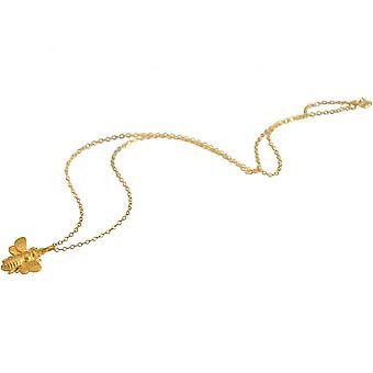 Damen - Halskette - Anhänger - 925 Silber - Vergoldet - BEE– - Biene - 45 cm