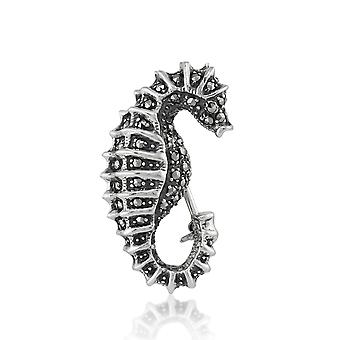 Art Nouveau Style Round Marcasite Seahorse Brooch in 925 Sterling Silver 16968
