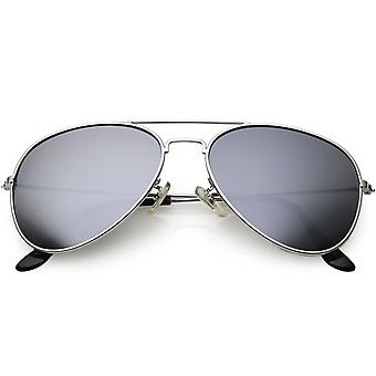 Lunettes de soleil aviateur métallique classique pour hommes femmes Silver Mirror Lens 57mm