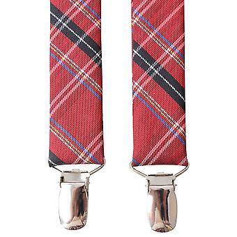 Knightsbridge Neckwear Tartan Clip bretelles - rouge