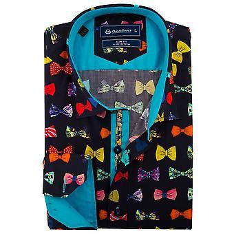 Oscar Banks Multicoloured Bow Tie Print Mens Shirt