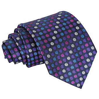 Purple, Blue & Pink Chequered Polka Dot Classic Tie