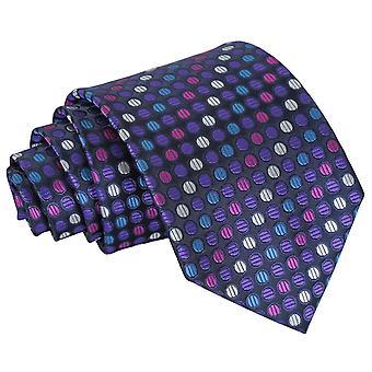 Fioletowy, niebieski & różowy kraciasty Classic krawat w kropki