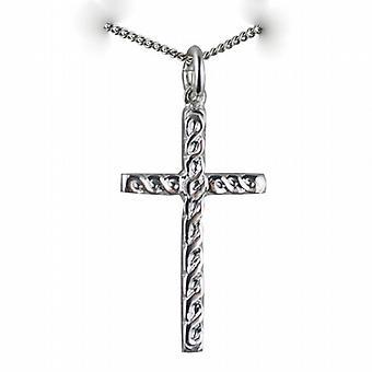 Zilveren 29x17mm reliëf Keltische knoop design Cross met een curb Chain 24 inch