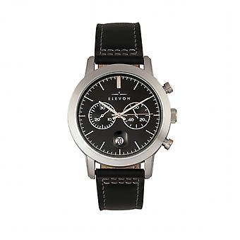 Elevon Langley Chronograph Leather-Band Watch w/ Date - Black