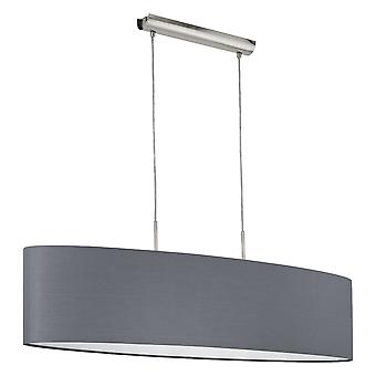 Eglo - Pasteri 2 Light Large Ceiling Pendant In Satin Nickel Finish With Grey Fabric Shade EG31586