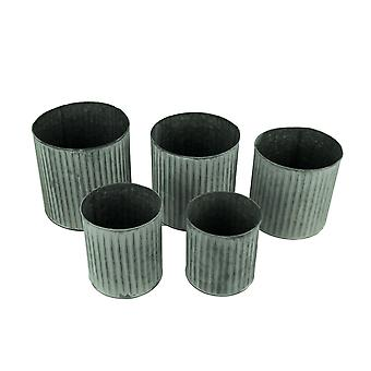 Textured Grey Washed Metal Decorative Storage Cans Set of 5
