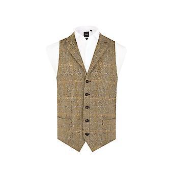 Schottische Harris Tweed Mens braun Tweed Weste regelmäßige Passform 100 % Wolle Fensterscheibe Check Kerb Revers
