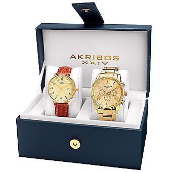 Akribos XXIV AK884YG Casual Armband und Lederstrap Watch Set