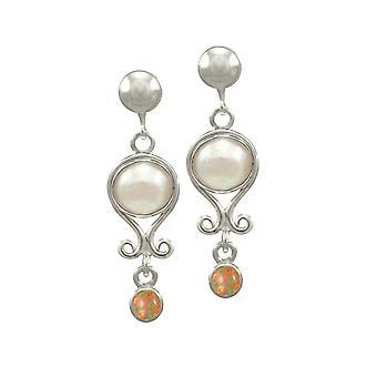 Ewige Sammlung Oktober Opal und Perle Sterling Silber Birthstone Drop-Clip auf Ohrringe