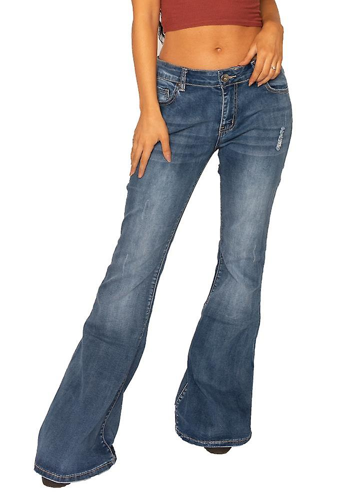 best collection usa cheap sale wholesale outlet 70s Style Ripped Bell-bottom Wide Flared Jeans