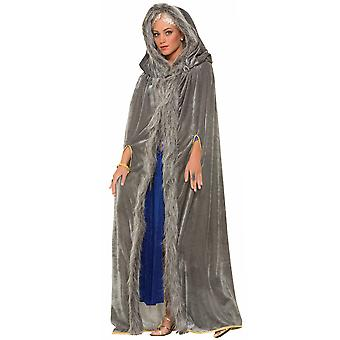 Medieval Renaissance Warrior Faux Fur Trimmed Men Women Costume Grey Cape