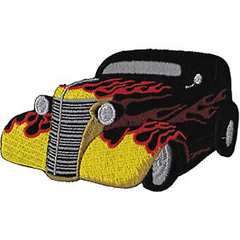 Patch - Automoblies - Black Hot Rod with Flames Iron On Gifts New Licensed p-3763