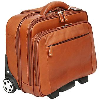 Cortez Colombian Leather Executive Laptop Cabin Trolley, Removable Laptop Sleeve (Cognac)