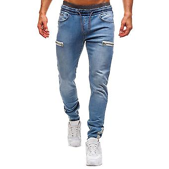 Allthemen Men's Cotton Blend Mid-Waist Casual Jeans