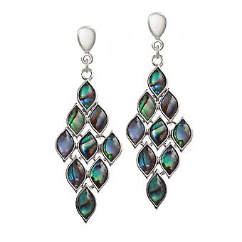 Eternal Collection Gabriella Paua Shell Chandelier Silver Tone Drop Screw Back Clip On Earrings