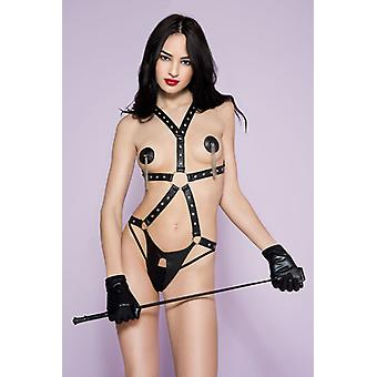 Leather look Body Harness With Open Crotch